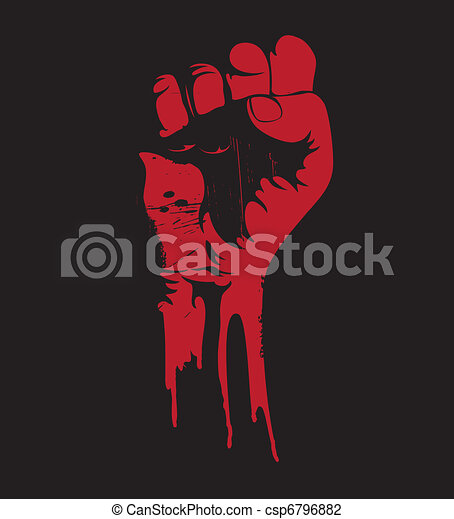 blooding clenched fist  - csp6796882