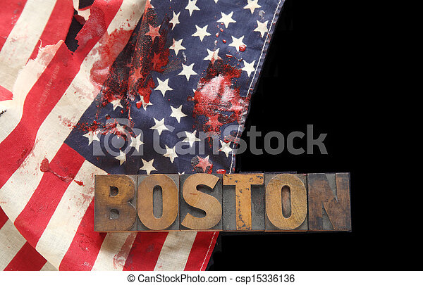 bloodstains on USA flag with Boston - csp15336136