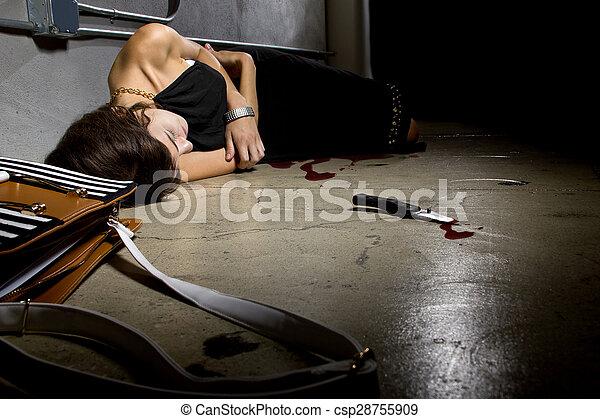Bloody Female Murder Victim - csp28755909