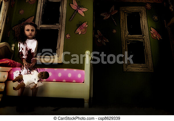 Bloody Ghost Girl with Doll in Bedroom - csp8629339