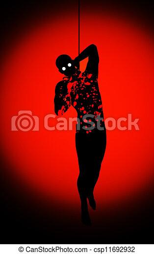 Bloody Hanging Man  - csp11692932