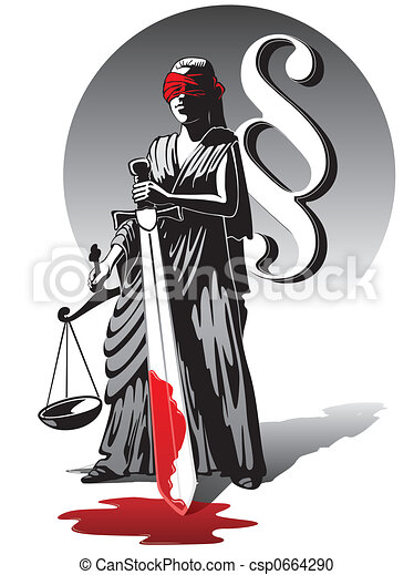 Bloody Lady Justice Blind Lady Justice Holding Scale And