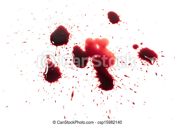 Bloody red blots isolated on white background - csp15982140