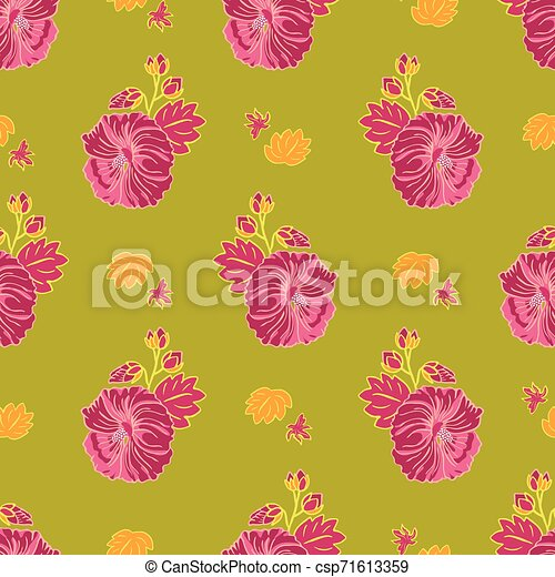 blooming red mallow flower garden seamless repeat vector pattern on green background for fabric scrapbooking wallpaper and can stock photo