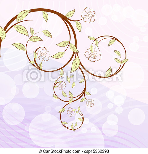 Blooming tree branch with flowers vector illustration. - csp15362393
