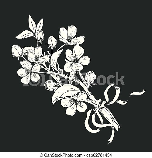Blooming tree. Hand drawn botanical blossom branches bouquet on black background. Vector illustration - csp62781454
