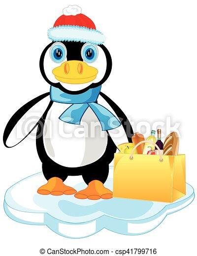 Pingüino en el bloque de hielo - csp41799716