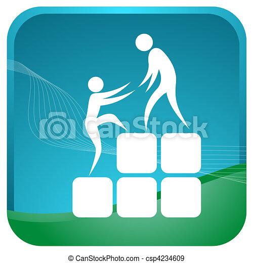 Humanos ayudándose mutuamente a escalar los bloques - csp4234609