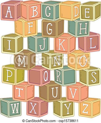 Bloqueo de madera alfabeto - csp15738611