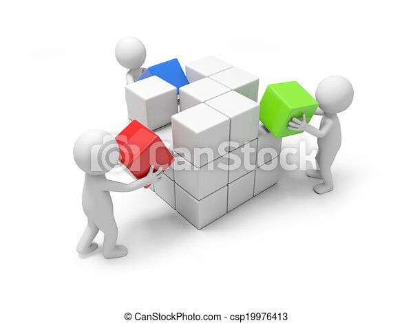 Hombre con bloques - csp19976413