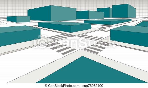 bloques, línea., calles de ciudad, blanco, negro, detalle, verde, contorneado, vector, imagen, mapa, 3-dimensional - csp76982400