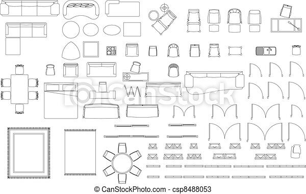 Bloques Muebles Blanco Conjunto Bloques Plano De