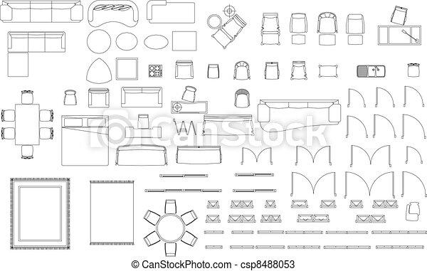 Bloques muebles blanco conjunto bloques plano de for Dibujos de muebles para planos arquitectonicos