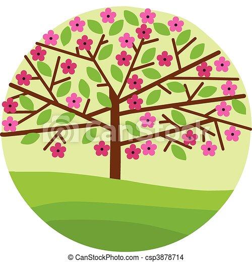 blossom , lentebloemen, boompje, vellen - csp3878714