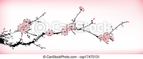 blossom painting - csp17470131