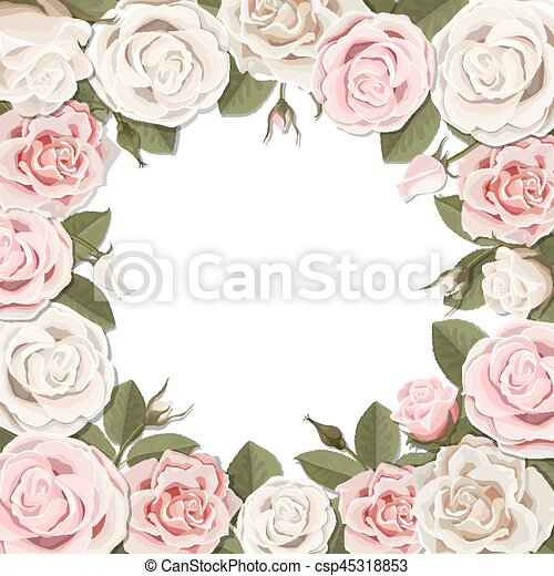 Blossom pink and white rose flowers frame. Square frame of white and ...