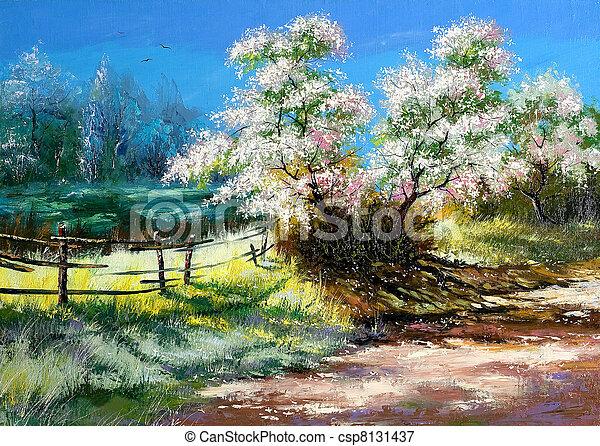 Blossoming bush on rural surburb - csp8131437