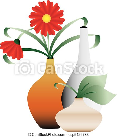 Blossoming Flowers In Vases Decorative Illustration Of Blooming