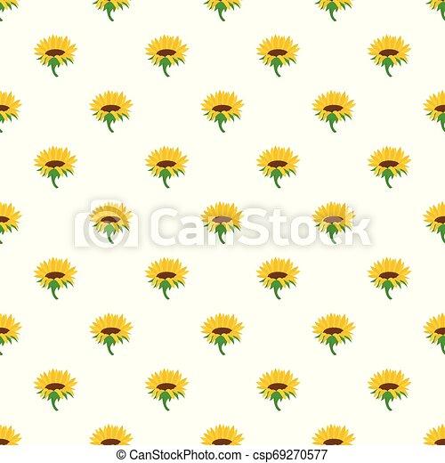 Blossoming sunflower pattern seamless vector - csp69270577