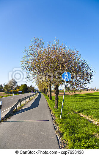 blossoming tree at a street with bicycle lane - csp7638438