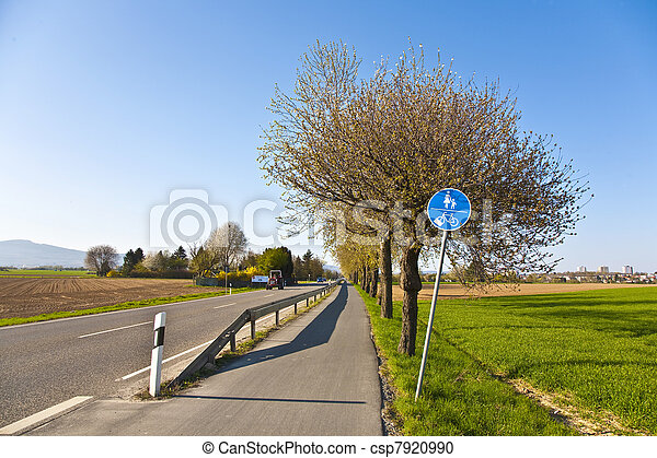 blossoming tree at a street with bicycle lane - csp7920990
