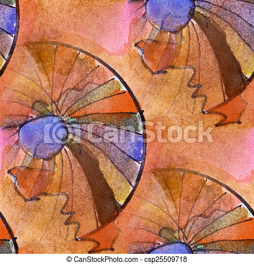 Blots Color Wheel Watercolor Painting Seamless Background Stock Photo