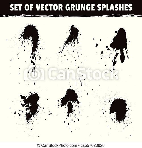 Coleccion de manchas de tinta y salpicaduras de grunge - csp57623828