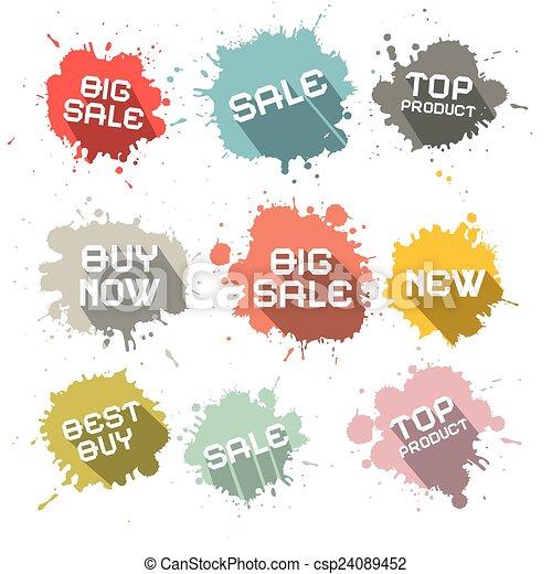 Blots - Splashes Vector Business Discount Labels - csp24089452