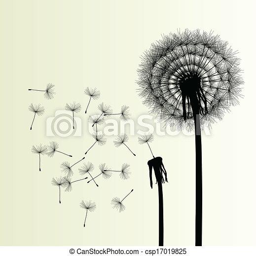 Blow Dandelion vector background - csp17019825