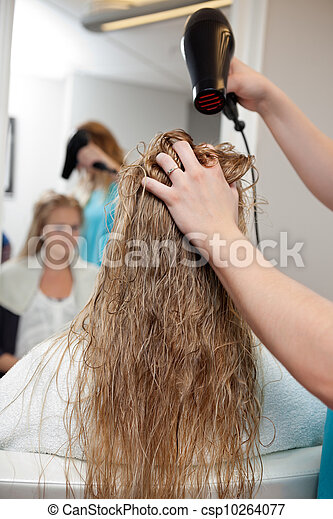 Blow Drying Wet Hair - csp10264077