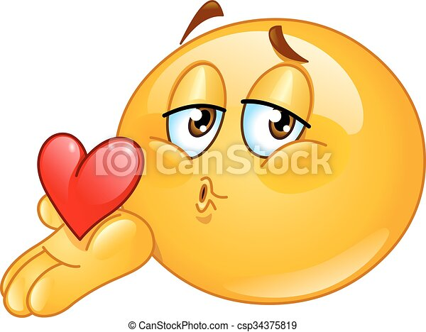 Blowing kiss male emoticon - csp34375819