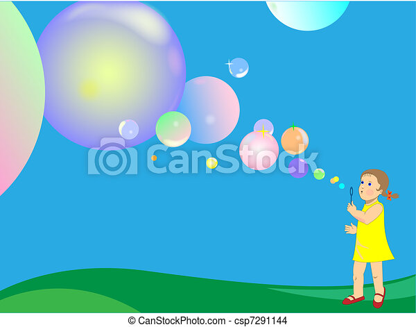 Blowing soap bubbles - csp7291144