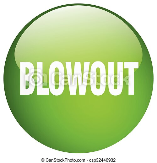 blowout green round gel isolated push button - csp32446932