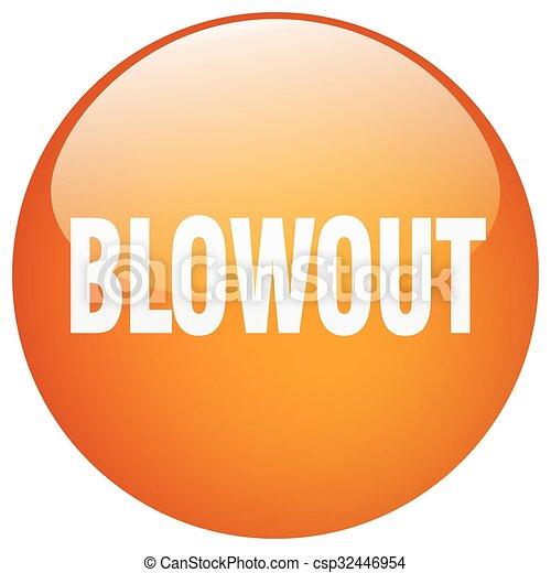 blowout orange round gel isolated push button - csp32446954