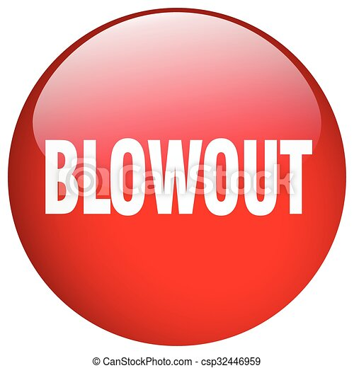 blowout red round gel isolated push button - csp32446959