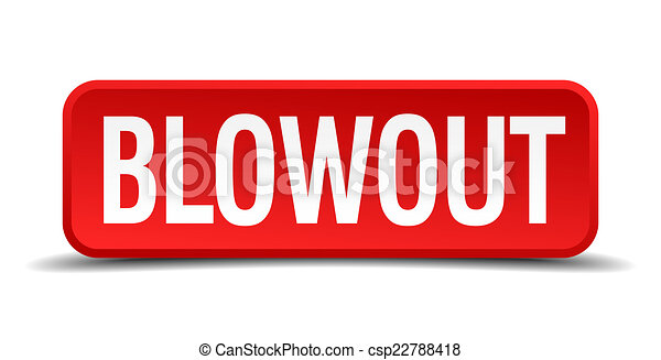 blowout red three-dimensional square button isolated on white background - csp22788418