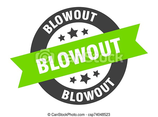 blowout sign. blowout black-green round ribbon sticker - csp74048523