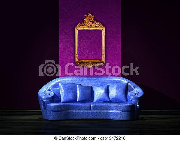 blu, anticaglia, minimalista, parete, divano, cornice, interno - csp13472216