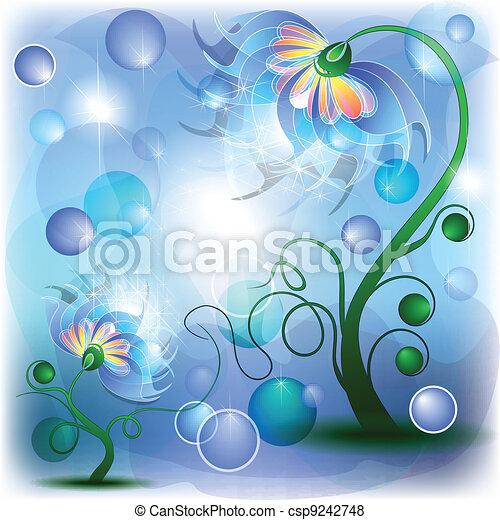 blu, bambino, fata, mamma, fiori - csp9242748
