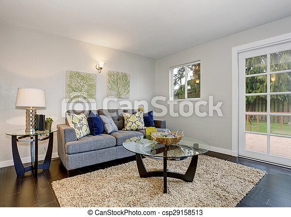 blu, bello, sofa., stanza - csp29158513