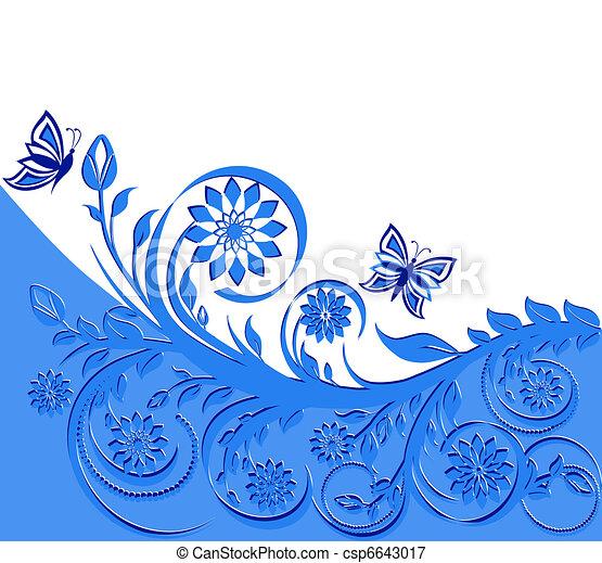 blu, butterflies., cornice, illustrazione, vettore, floreale - csp6643017