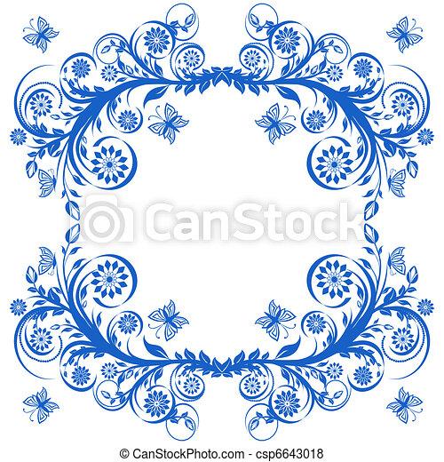 blu, butterflies., cornice, illustrazione, vettore, floreale - csp6643018