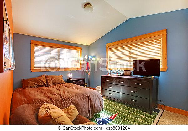 Blu, camera letto, bambini, brown., biy. Ragazzi, bambino,... foto d ...