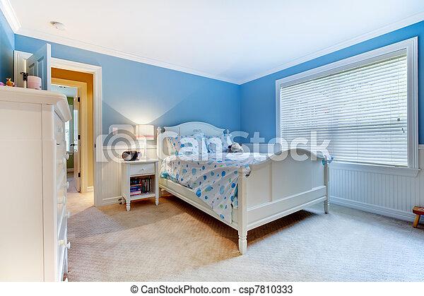 blu, camera letto, bambini, ragazze, interior. - csp7810333