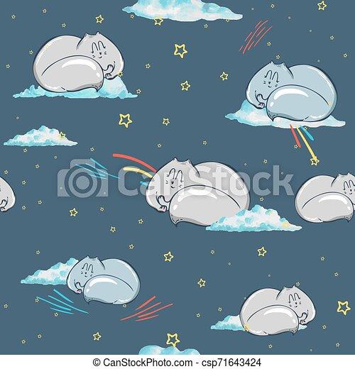 blu, carino, vettore, sketch., realistico, gattini, ritratti, pattern., seamless, illustrazione, clouds., fondo., gatti, sonno, cats., animali domestici, animal., casa, mano, disegno, art. - csp71643424
