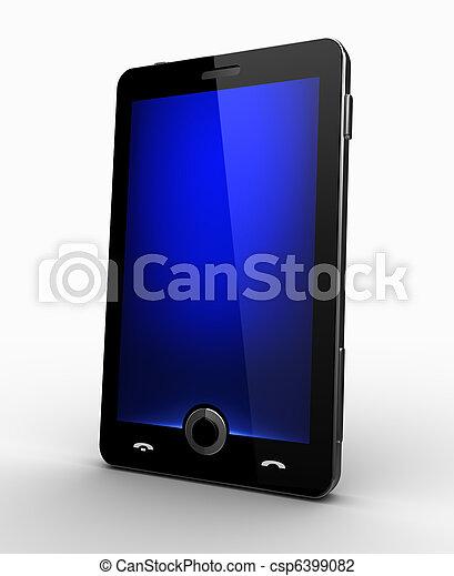 blu, cellphone, schermo, -, elegante - csp6399082