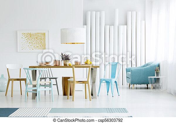 blu, cenando, interno, stanza - csp56303792