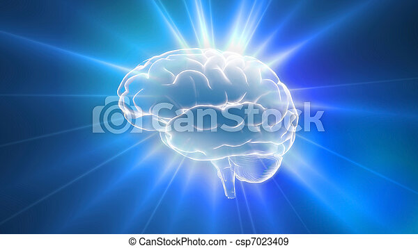 blu, cervello, contorno, brilla luce incerta - csp7023409
