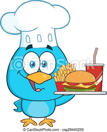 blu, chef, carattere, uccello, cartone animato - csp29440259