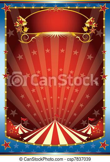 blu, circo, sfondo rosso - csp7837039